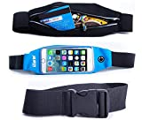 iZarin® Running Belt for EE Harrier Mini / Blue Waterproof Waist Pack / Includes Headphone Cable Slot, Key, Card, Accessories Holder & Additional Extender