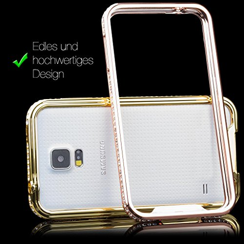 iCues Apple iPhone 6/6S + PLUS (5.5 Zoll) |  Alu Strass Bumper Rosa | [Display Schutzfolie Inklusive] Strass Glitzer Glitter Luxus Bling Damen Frauen Mädchen Chrome CNC Aluminium Metall Metallic Schut Rose