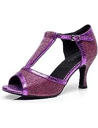 HCCY Zapatos de Baile Latino de Fondo Suave Color Morado 411fb6c89908