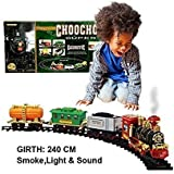 Babytintin Toy Train With Smoke Emits Light And Sound Train Track Set For Kids Classical Musical Toy Train Set
