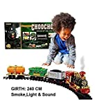 #3: Babytintin Toy Train with Smoke Emits Light and Sound Train Track Set for Kids Classical Musical Toy Train Set (Multi Color and Assorted Model)