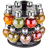Jay Balaji Plastic Multipurpose Revolving Spice Jar/Condiment Set Rack, 250 ml, 16 Pieces, Multicolour