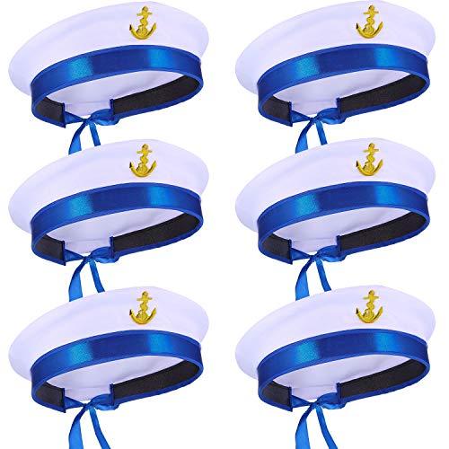 Boao Weißer Seemann Hut Kapitän Kappe Jacht Nautisch Hut für Erwachsenes Matrose Kostüm, Verkleidung Party Hüte (6 Stück, Stil C)