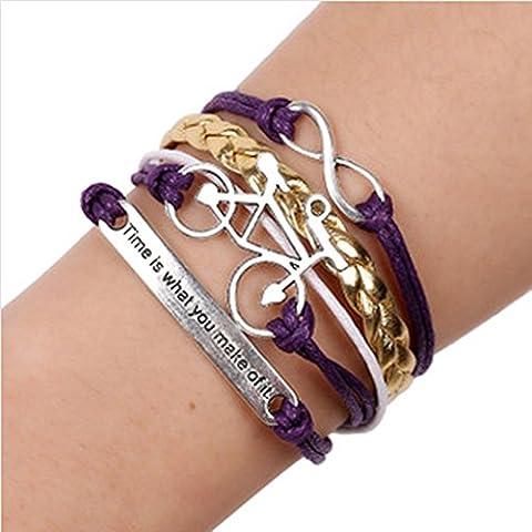 Wgwioo Bracelet En Cuir Tressé À La Main Réglable Bangle(Pack Of 3) Retro Purple