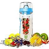 Wasserflasche, DEGBIT® [BPA-freiem Tritan] Kunststoff Trinkflasche Sport, Flasche ca. 1L, Sportflasche Auslaufsicher, Trinkflaschen BPA Frei Infuser mit Verschluss & Tragehenkel, Wasserflasche Blau