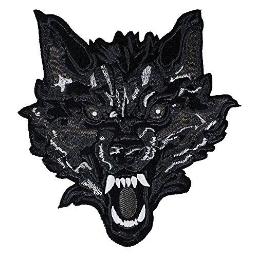 EMDOMO Parches Traseros Cabeza de Lobo Bordado para Ropa, Decorados, Accesorios de Costura, 1 Pieza
