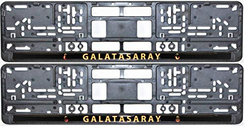 GALATASARAY Aslan Cim bom Kennzeichenhalter Premium Nummernschildhalterung für EU-Auto-Kennzeichen 52 X 10 cm, 2 Stück stabile Halterung für KFZ-Nummernschilder Kennzeichenhalterung