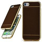 Apple iPhone 7/8 Hülle Leder-Optik Dunkel-Braun OneFlow Palmero Silikon-Hülle Dünn Schutzhülle TPU Handyhülle für iPhone 7/8 Case Ultra-Slim Handy-Schutz
