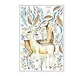 Demino 60x90CM Cartoon Deer Muster PVC Material Selbsthaftung Kühlschränke Möbel-Aufkleber Niedliche Wandaufkleber