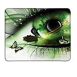 Abstrakte Mausunterlage Abstrakte natürliche Grafik mit Einem Schwan, der in Auge und in Fliegen-Schmetterlingsgewohnheit Mausunterlage schwimmt Grünes Schwarz-Weiß
