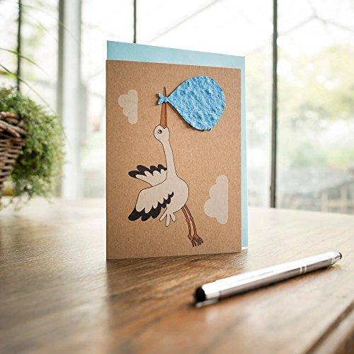 """Klappkarte """"Geburt - Junge"""" - Grusskarte zur Geburt mit eingearbeiteten Wildblumensamen"""