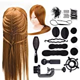 Hairdressing Head 24 inch 50% Real Human Hair Cosmetology Hairdressing Mannequin Manikin Doll