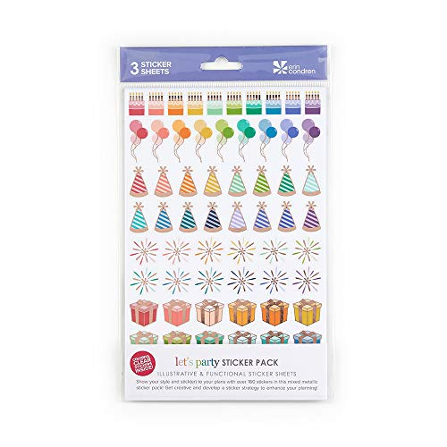 Erin Condren Lets Party Sticker-Set, 3 Stickerbögen, 160 Aufkleber (Monatlich Kalender-buch)
