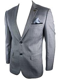 Giacca Vintage da Uomo Blazer Sagomato in Tweed Grigio a Scacchi e Finiture  Nere 831bb6fef79