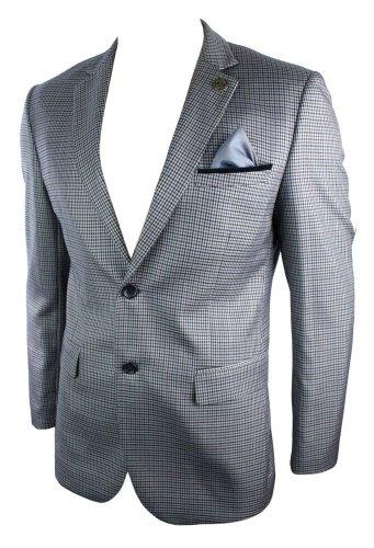 Veste homme blazer tweed rétro vintage gris carreaux empiècement coupe ajustée Gris