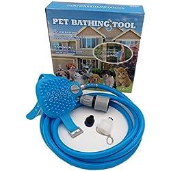 HomeYoo Pet Bade Kit Werkzeug, Dusche Sprayer für Hund, Multifunktions Pet Wash Anlage anwendbar für Badewanne Pflege, Katze, Innen-und Außen Sauber Massageeinrichtungen (2.5m, Blue)