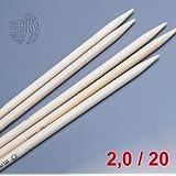 LANA GROSSA Nadelspiel Bambus, Länge 20 cm / Stärke 2.0