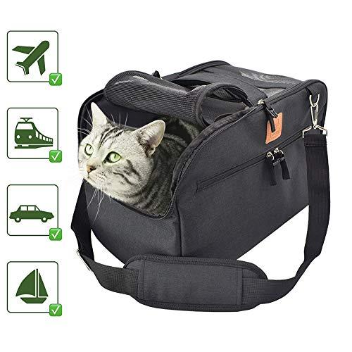 FLkENNEL Transporttasche für Hunde & Katzen,Airline Approved Under Seat Reise Hundetasche mit Weichem Kissen für Flugzeug/Auto/Zug,Leicht und Faltbar