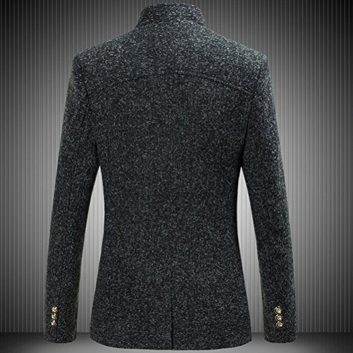 Zhhlinyuan bonne qualité Mens Spring Autumn Single Breasted Blazer Five-Button Stand Collar Black