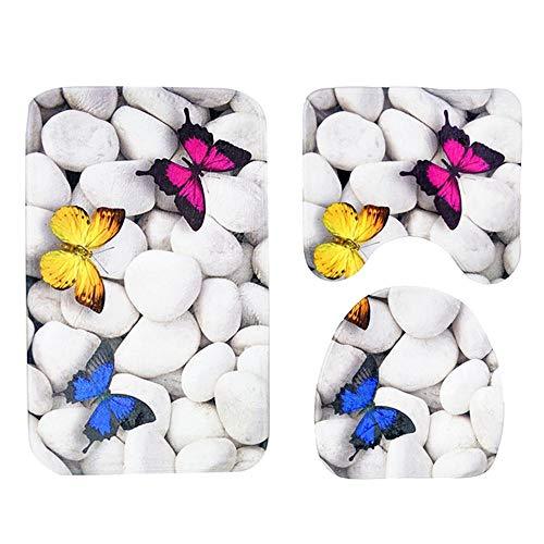 Kontur-badezimmer Teppich (Yimiky 3 Stücke Badematte Sets für Badezimmer, Toilette Teppich Set Kontur Rutschfeste Badematte + Deckel Toilettenbezug + Toilettenmatte Hause Bad Zubehör Weichen Komfort Plüsch)