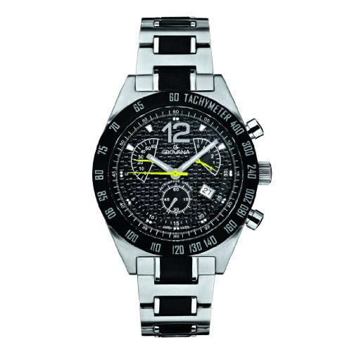 GROVANA 1620.9178 Men's Quartz Swiss Watch with Black Dial Chronograph Display and Silver Stainless Steel Bracelet
