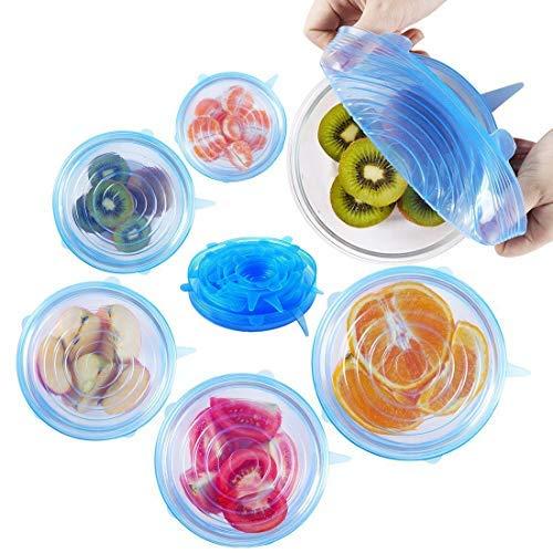 tch Deckel, Set 6Stück Silikon Food Saver Abdeckungen für Schüsseln, Tassen, Behälter und Tassen, der alle Formen blau ()