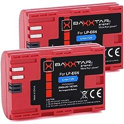 2X Baxxtar Pro Batterie de qualité pour Canon LP-E6N (2040mAh) avec Info Chip - Système de Batterie Intelligent Prochaine génération