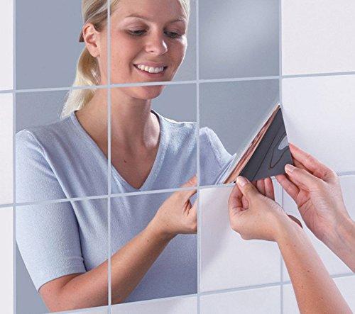 LifeUp- 16 Pezzi Specchi Quadrati, Adesivi Murali Camera da Letto Soggiorno Decorazioni da Muri Pareti per Casa Negozi Bar Caffe, Fai da Te!
