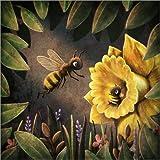 Posterlounge Holzbild 120 x 120 cm: Bees von Emma Chadwick