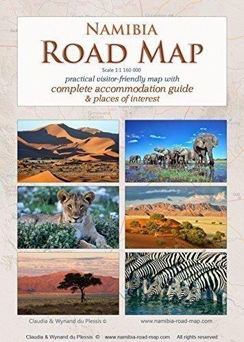 Namibia Road Map / Map of Namibia / Namibia Karte - NEU - mit Übersicht aller Unterkünfte