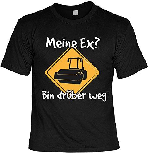Fun Shirt mit lustigem Motiv: Meine Ex? Bin drüber weg - Mit gratis Urkunde - Geschenk - Geburtstag - schwarz Schwarz