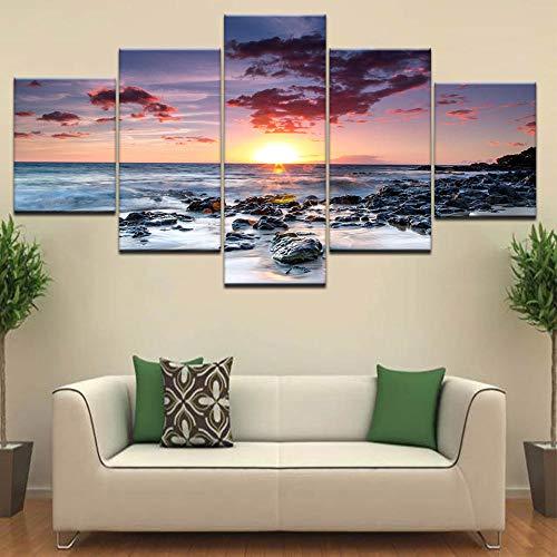 CANPIC 5 Panel modulare Wandgemälde Strand Sonnenuntergang Landschaft Leinwand Gemälde drucken, Framed 40X60 40X80 40X100cm - Strand Leinwand Drucken