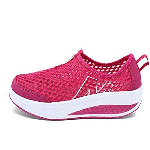 Plateau Rede Cunhas Sapatos Casuais Da Sapatilha Da Cunha Calcanhar Deslizamento Respirável Em Sapatos Malha De Superfície Tênis Verão Loafers Mulheres Rosa