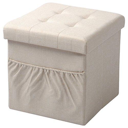 Woltu sh12cm-1 sgabello sedia a cubo pouf pieghevole cassapanca poggiapiedi contenitore con tasca mdf stoffa lino beige