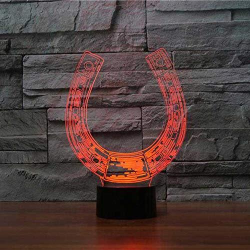 Hufeisen, Basis (3D USB Visuelle Hufeisen Nachtlicht 7 Farben LED Tischlampe Kreative Uförmige Leuchte Geschenke Nacht Schlaf Beleuchtung Dekor)
