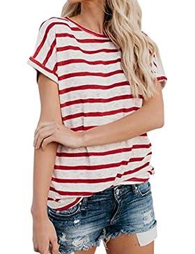 LuckyGirls Camisetas Mujer Originales Manga Corta Rayas Casual Remeras Blusas Camisas