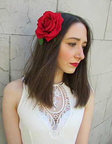 Pince cheveux fleur rose rouge grand ou Prom de mariée Broche Vintage Années 50 Rockabilly * * * * * * * * exclusivement vendu par – Beauté * * * * * * * * J99
