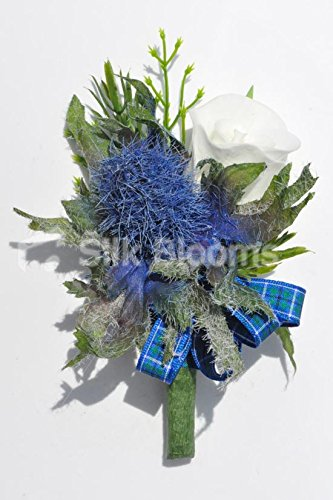 Inspirada escocés Blue Thistle ojal blanco Artificial