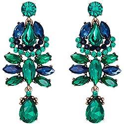 EVER FAITH Mujer Cristal Austríaco Fiesta Vintage Lágrima Floral Estilo Pendientes Perforado Colgante Tono Verde