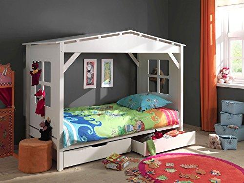 Vipack Spielbett Pino, 90 x 200 cm, Haus, mit 2 Bettschubladen, Kiefer teilmassiv, weiß lackiert