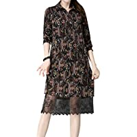 ALUK- La versión coreana de la primavera y el otoño vestido retro apacible floral falda de gasa floral mujeres ( Color : A , Tamaño : One Size )