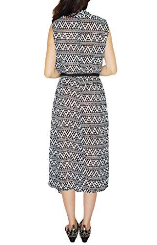 Oksakady Maxi Dress per le donne 2017 Nuovo vestito lungo di estate con la cinghia della vita e la tasca laterale style H