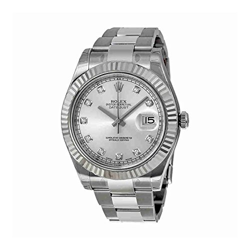 Rolex Datejust II Silver Diamond Dial 18k White Gold Fluted Bezel Oyster Bracelet Mens Watch 116334SDO