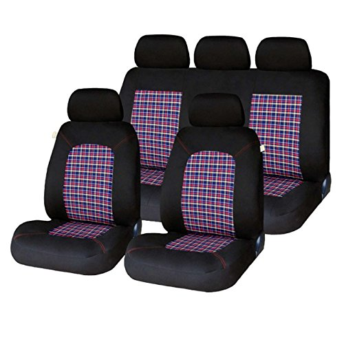 XtremeAuto - Red Lambeth, Tartan/Plaid Checked Pattern Seat Covers