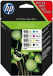 HP 950XL-951XL C2P43AE Negro, Cian, Amarillo y Magenta, Cartucho de Tinta de Alta Capacidad Original, para imp