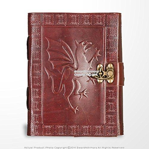 Medieval gears marca medievale in vera pelle diario carta pergamena rosso fierce dragon theme