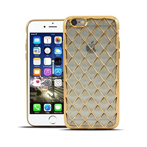 HULI Diamond Case Hülle Gold für Apple iPhone 6 Plus / 6s Plus Smartphone - Diamant Handyhülle aus TPU Silikon Schutzhülle - sicherer Schutz Wabe Kaleidoskop golden