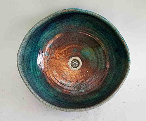 Ovales Waschbecken handgerfertigt Raku/Kupfer/Antik Ø 40/36 cm Höhe 16 cm