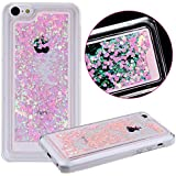 iPhone 5C Case, iPhone 5C Cover, AcenX 3D Creative Design Flowing Floating Liquid Small Love Hearts Bling Glitter Sparkly Stars Quicksand Hard Transparent Clear Crystal Back Case Cover for Apple iPhone 5C (Love Hearts Pink)
