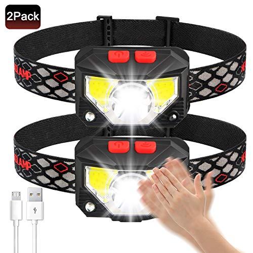 Avaspot Stirnlampe, 800 Lumens Super hell USB Wiederaufladbare LED Mini Kopflampe, 8 Modi Arbeit Stirnlampe, Stirnlampe LED Wasserdicht mit Bewegungs Sensor für Camping Angeln Joggen, 2 Stück
